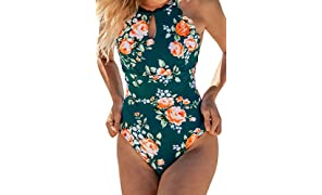CUPSHE Women's Teal Floral Scalloped One Piece Swimsuit Padded Bikini