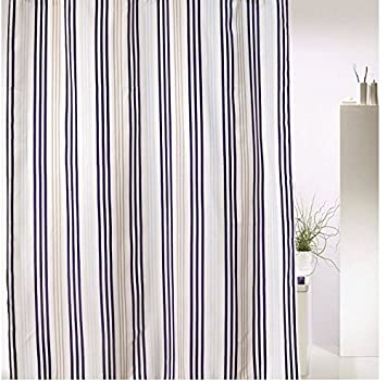 Carly Stripes Navy Blue Beige White Shower Curtain Fabric Patterned 180 x  200 cm Eyelet WithCarly Stripes Navy Blue Beige White Shower Curtain Fabric  . Navy Blue And White Shower Curtain. Home Design Ideas