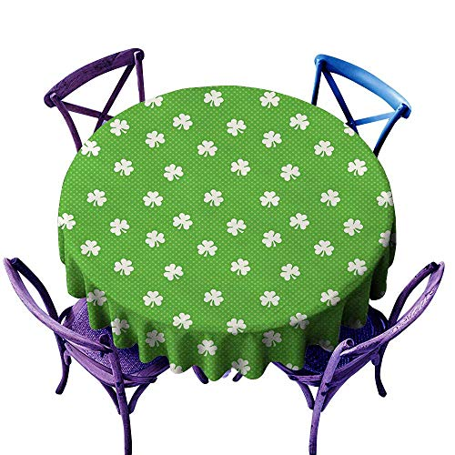 Drops Tablecloth Pool Green (ScottDecor Irish Tablecloth Clear Protector Old Fashioned Polka Dots Backdrop with Cultural Flowers Clovers Retro Classic Lime Green White Tablecloth Sizes Round D 50
