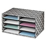 Bankers Box 6171301 Decorative Sorter, 8 Letter Sections, 19 1/2 x 12 3/8 x 10 1/4, BK/WE Brocade