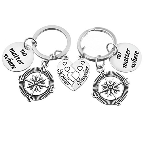 MJARTORIA Mother Daughter Heart No Matter Where Compass Keychain Ring Set of (Two Hearts Key Ring)
