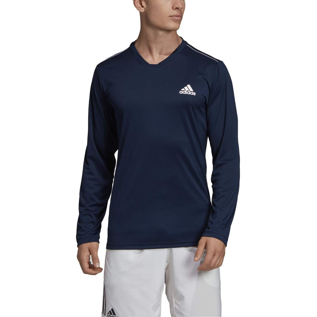 adidas Uv Protect Long-Sleeve Tennis Tee, Collegiate Navy/White, Small