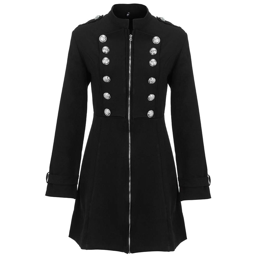 Women Fashion Double-Breasted Coat Copper Buttons Plus Size Vintage Longline Flare Windbreaker