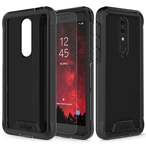 (Zizo Ion Series Compatible with Alcatel Onyx Case Military Grade Drop Tested with Tempered Glass Screen Protector Black Smoke)