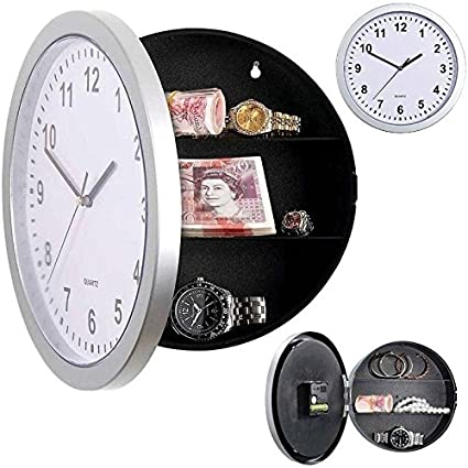 Kicode Secreto Oculto Creativo Reloj de pared Joyería segura del dinero Stash Almacenamiento de cosas Caja