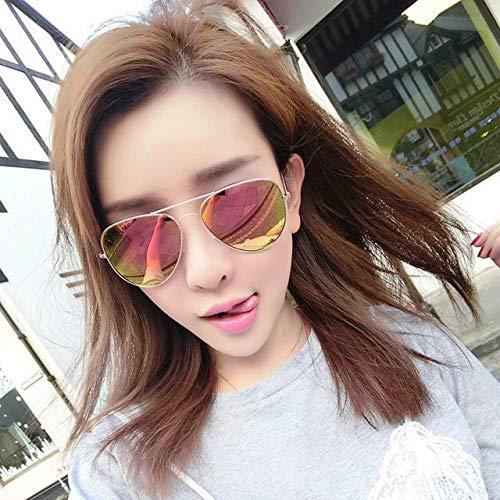 Sunglasses Men Sunglasses Round face, Korea Tide Personality yurt Polarized Driver Eye (Gold Frame/red Film
