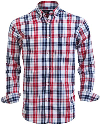 Double Pump Mens Button Down Shirts 100% Cotton Long Sleeve Shirts Regular Fit (SL02A,L)