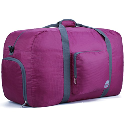 "Wandf 90L Foldable Travel Duffel Bag Luggage Sports Gym Water Resistant Nylon (26"" Plum)"
