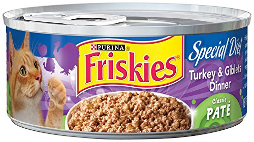 Friskies Wet Cat Food, Classic Pate, Special Diet Turkey & Giblets Dinner, 5.5-Ounce Cans, Pack of 24