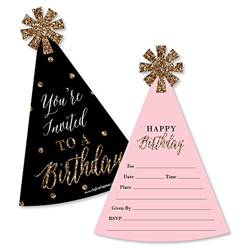 Chic Happy Birthday - Pink, Black and Gold - Shaped Fill-in Invitations - Birthday Party Invitation Cards with Envelopes - Set of 12 -