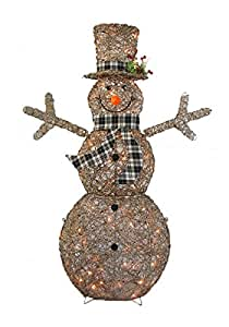 "CN & CS 48"" 3D Natural Glittered Rattan Snowman with 50L Indoor/outdoor clear lights - Christmas home & Yard art decoration"