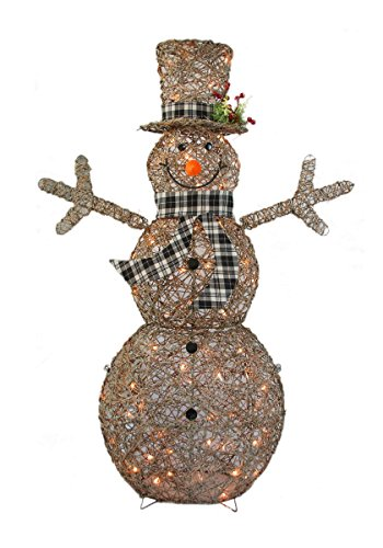 al Glittered Rattan Snowman with 50L Indoor/Outdoor Clear Lights - Christmas Home & Yard Art Decoration ()