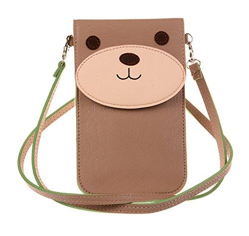KISS GOLD(TM) Fresh Color Super Cute 3D Animal Pattern Mini Shoulder Bag Cellphone Pouch (Khaki-Bear)