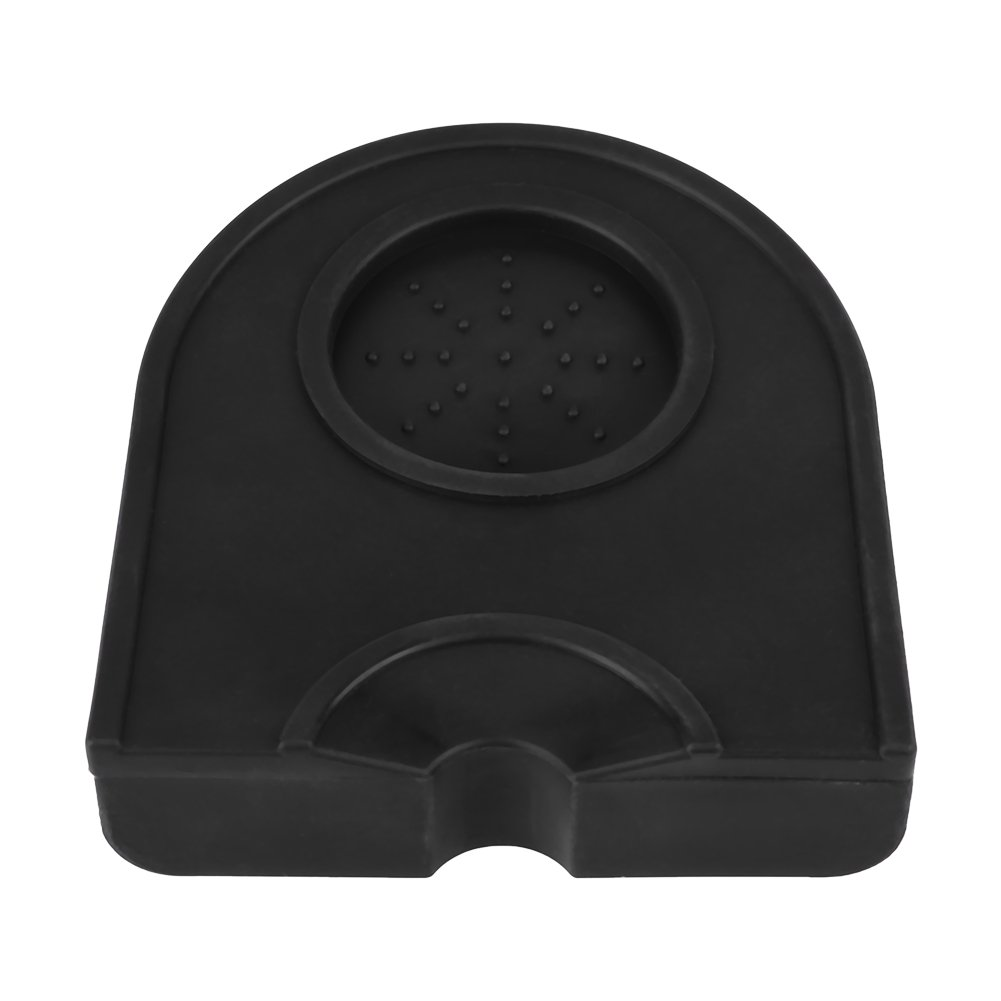 Coffee Tamper Mat, Thicken Anti-skid Wear Resistance Coffee Tamper Holder Coffee Grind Silicone Mat with Suspended Part(Black)