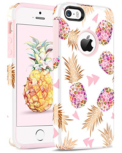 BENTOBEN Compatible iPhone SE, iPhone 5 5S Case, Hybrid Gold Pineapple Pattern Slim Hard PC Soft Rubber Silicone Shockproof Protective Case Cover for iPhone 5S 5 SE, Pink