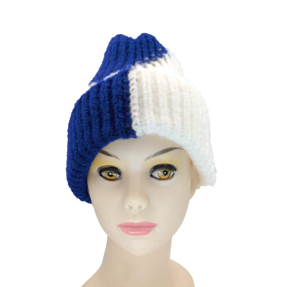 OVERMAL Unisex Knitted Ski Beanies Winter Warm Hat Baggy Two Tone Striped Cap