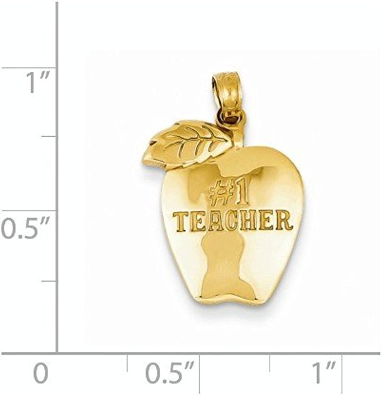 14k #1 Teacher Apple Pendant