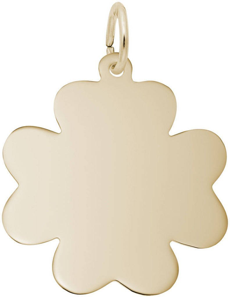 Rembrandt Flat Clover Charm - Metal - 14K Yellow Gold
