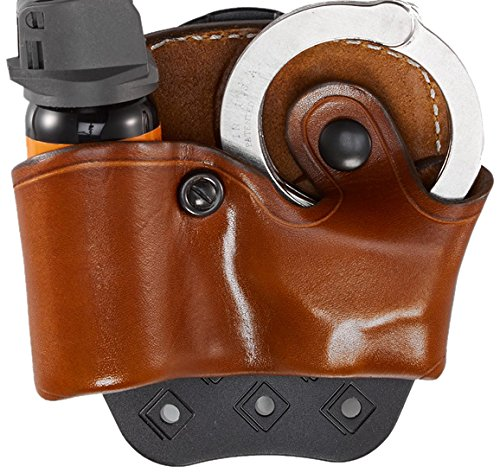 Aker Leather 619 D.M.S. (Dual Mounting Series) Mace/Cuff Case, Tan, Right Hand, Fits Most Standard 2oz. Spray and Chain Handcuffs (Mace Spray Pouch Plain)