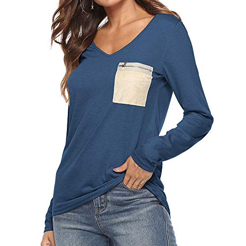 Beikoard Shirt Femmes V à Tops Tops Sleeve T Longues pour T Ladies Casual Womens Manches Neck Pocket Marine Zip Shirt Long Blouse SnrqSBwRY