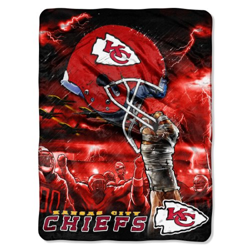 NFL Kansas City Chiefs 60-Inch-by-80-Inch Plush Rachel Blanket, Sky Helmet ()