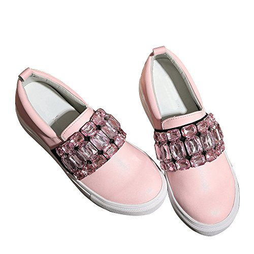 - Spritech(TM) Women Girl Summer PU Leather Round Toe Crystal Design Platform Wedges Casual Shoes 38 Pink