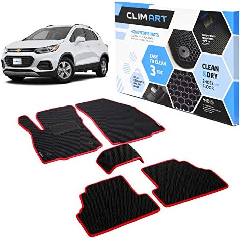 CLIM ART Honeycomb Custom Fit Floor Mats for Chevrolet (Chevy) Trax 2014-2021/Buick Encore 2013-2021, 1&2 Row, Car Mats Floor Liner, All-Weather, Car Accessories, Black/Red – FL051515084