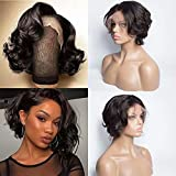 Maxine Short Pixie Cut Wig Brazilian Bob Wig Wavy Loose Wave 130% Density Lace Front Wigs Human Hair For Black Women Pre Plucked Hairline 13x4 Short Haircuts Lace Wig 6 inch