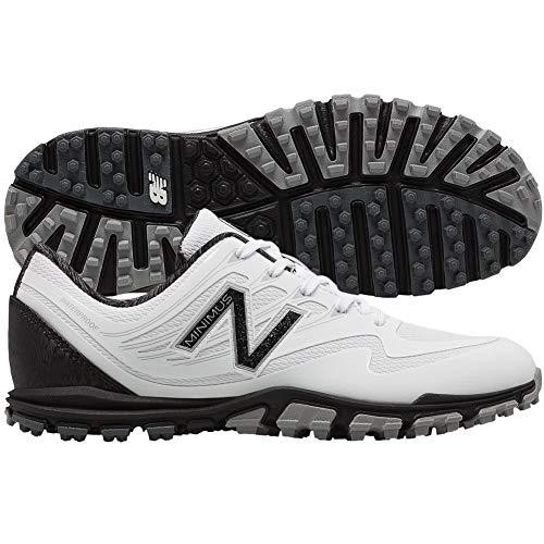 New Balance Women's Minimus WP Waterproof Spikeless Comfort Golf Shoe, White/Black, 8 W US