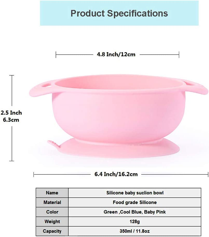 Microwave and Dishwasher Safe Skid Resistant BPA Free Silicone Baby Bowls with Suction Non Slip Round Feeding Bowls Sets for Baby or Kids Baby Pink FDA Certificated B