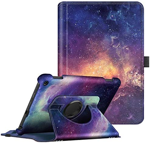 Fintie Case for All-New Amazon Fire HD 8 and Fire HD 8 Plus Tablet (tenth Generation, 2020 Release) - 360 Degree Rotating Swivel Stand Protective Cover with Dual Auto Sleep Wake, Galaxy