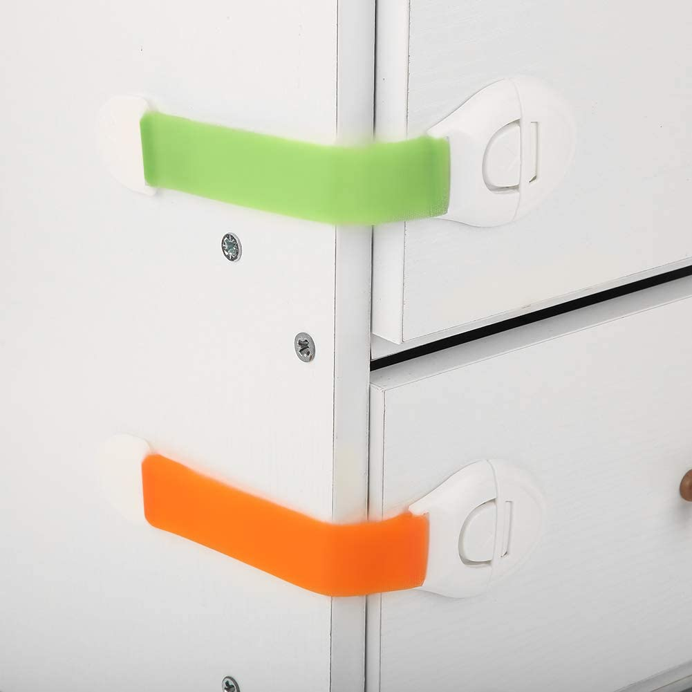 No Drilling Strong Adhesive Baby Proofing Cabinet Lock Colorful Closet Drawer Latches Children 5 Pack Adjustable Child Safety Locks for Door Cupboard Fridge Drawer Toilet