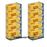10 Rolls Kodak GC 135-24 Max 400 Color Print 35mm Film ISO 400 (Pack of 10)