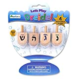 Baby : Let's Play Dreidel The Hanukkah Game 4 Natural Wooden Draydels With Instructions for Chanukah - Instructions Included