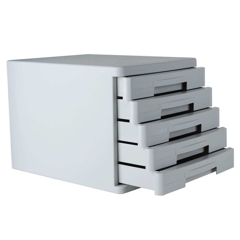 File cabinets LITING A4 Plastic 5-Layer Drawer Office Storage Box Information Cabinet (Color : Gray)