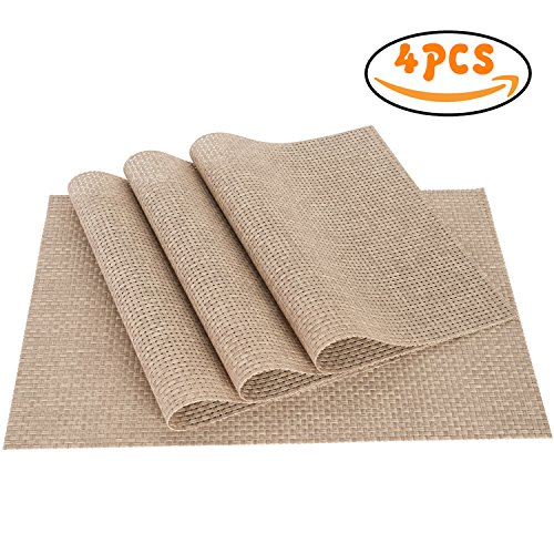 PVC Weave Placemats ,Zupro Dining Table Mat Anti-Slip,Heat Insulation PlaceMat,Set of 4, Six Color Available (Dining Set Usually Ships)
