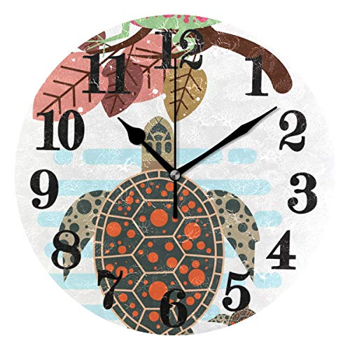 - Classic Sea Turtle Lizard Round Wall Clock Non Ticking Battery Operated Quartz Clocks Decor for Home Living Room Bedroom Office
