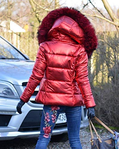 Alta Parka Con Pelliccia Donna Marrone A Da In Roiii Top Moda Gi�� Giacca Sottile Sintetica Cappotto Vita Cappuccio OYRxvqxZw