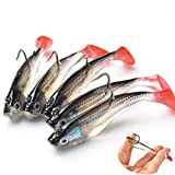 BELUPAID 5 PCS Red Single Tailed Lead Jigs Soft Fishing Lures with Hook Fishing Lures Baits Tackle Set for Freshwater Trout Bass Salmon Outdoor Fishing Tool