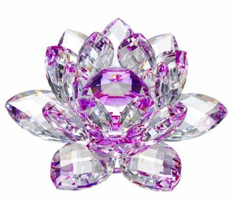1 X 5'' Purple Color Delicate Decorative Crystal Lotus Flower by HP by HP
