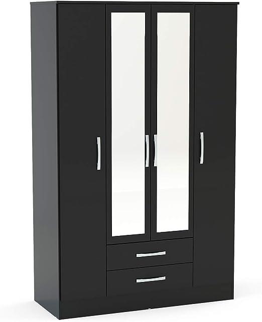 P/&N Homewares Adesso Armario de 4 Puertas con 2 cajones con Espejo en Color Negro para Dormitorio