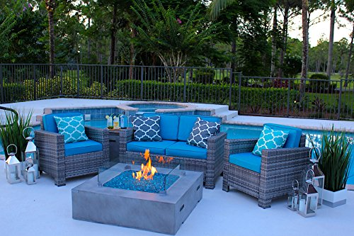 4 Piece Patio Set with Square Fire Table