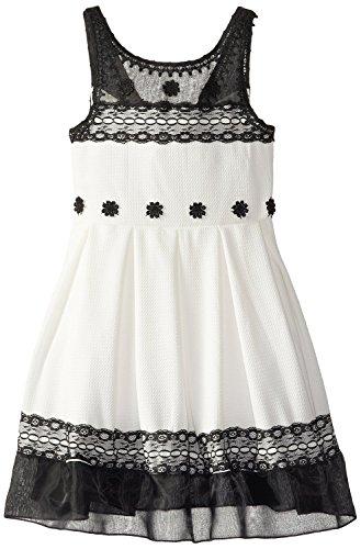 Bonnie Jean Big Girls' Textured Knit Chiffon Dress, Black...