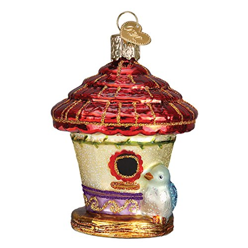 Old World Christmas Glass Blown Ornament with S-Hook and Gift Box, Birds Collection (Charming Birdhouse)