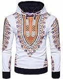 HTOOHTOOH Men's Africa Dashiki Print Hoodies Long Sleeve Casual Sweatshirt Yellow M