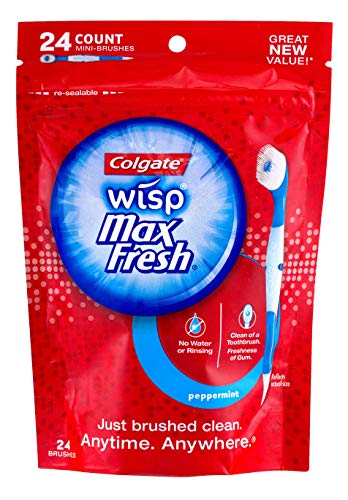 Colgate Max Fresh Wisp Disposable Mini Toothbrush, Peppermint - 24 Count, 4-Pack