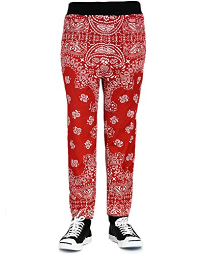 "URBAN ICON MEN'S PRINTED JOGGER PANTS ""SUBLIMATION PRINTS"", MEDIUM, RED BANDANA"