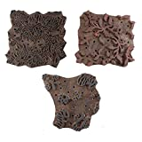 IndianShelf Handmade Set of 3 Piece Brown Wooden Fabric Paper Printing Stamp Textile Canvas Block