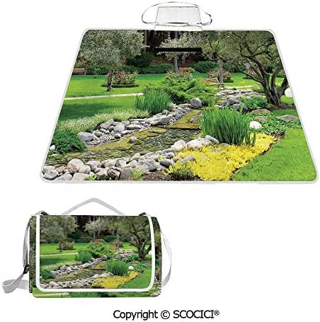 SCOCICI Easy Carry Superior Material & Durable Super Soft Beach Picnic Blanket Mat Japanese Park Style Recreational View with Pond Grass Stones and Trees Landscape Premium Design Multiple Use