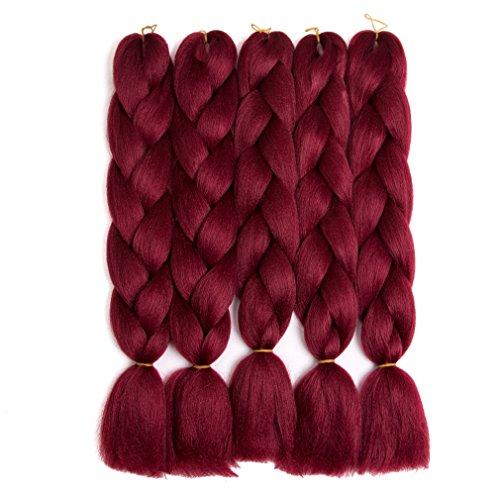 Twist Red Wine - Lady Corner Braiding Hair 24inch Jumbo Braids High Temperature Fiber Synthetic Hair Extension 5pcs/Lot 100g/pc for Twist Braiding Hair (Red Wine)